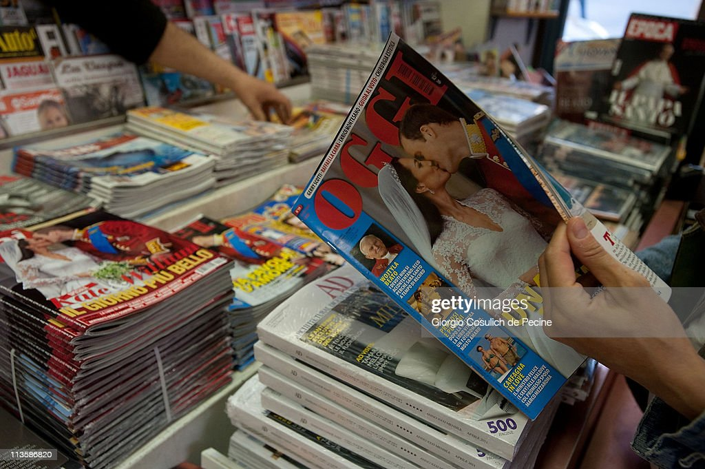 Italian magazine showing photographs of Prince William, Duke of Cambridge and Catherine, Duchess of Cambridge following their wedding, are displayed on a newsstand on May 3, 2011 in Rome, Italy. The marriage of the second in line to the British throne was led by the Archbishop of Canterbury and was attended by 1900 guests, including foreign Royal family members and heads of state. Thousands of well-wishers from around the world flocked to London to witness the spectacle and pageantry of the Royal Wedding.