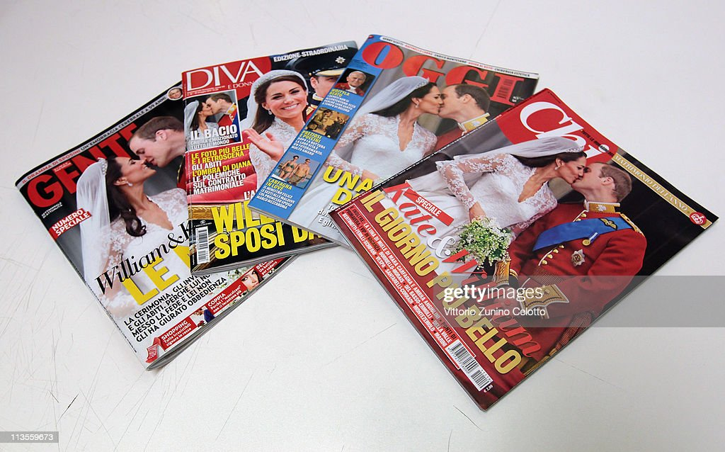 Italian magazines report the marriage of their Royal Highnesses Prince William, Duke of Cambridge and Catherine, Duchess of Cambridge following their wedding day on May 03, 2011 in Milan, Italy. The marriage of the second in line to the British throne was led by the Archbishop of Canterbury and was attended by 1900 guests, including foreign Royal family members and heads of state. Thousands of well-wishers from around the world flocked to London to witness the spectacle and pageantry of the Royal Wedding.