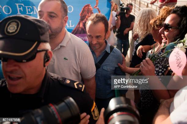 Italian man Francesco Arcuri arrives to the court of Granada on August 8 2017 Arcuri the expartner of Spanish woman Juana Rivas a woman in her mid30s...