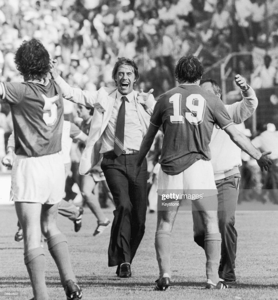 Italian manager Cesare Maldini rushes to congratulate Fulvio Collovati (left) and Francesco Graziani after beating Argentina in a World Cup game.