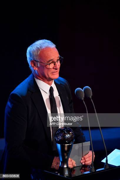 Italian manager of Nantes Claudio Ranieri presents The Best FIFA Men's Coach of 2017 Award during The Best FIFA Football Awards ceremony on October...