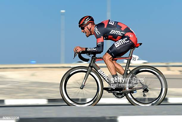 Italian Manuel Quinziato of the BMC team cycles during the individual timetrial of the third stage of the 2016 Tour of Qatar at Lusail circuit and...