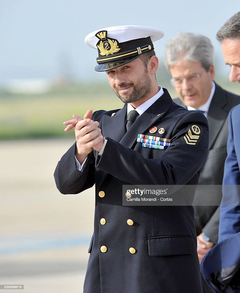 Italian Marine Salvatore Girone arrives at Ciampino Airport on May 28 2016 in Rome, Italy. Salvatore Girone, accused of killing two fishermen in India returned back to Italy after four years, pending a ruling on where he should be tried.
