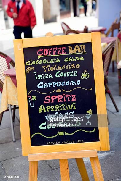 Italienisches Menü Straßencafe Venedig, Italien