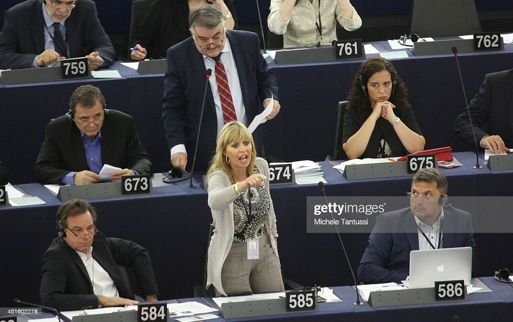 Italian MEP <a gi-track='captionPersonalityLinkClicked' href=/galleries/search?phrase=Alessandra+Mussolini&family=editorial&specificpeople=243183 ng-click='$event.stopPropagation()'>Alessandra Mussolini</a> (Benito Mussolini's granddaughter and Sophia Loren's niece) speaks in the plenary room in the european parliament ahead of the beginning of the six-month Italian presidency of the European council on July 2, 2014 in Strasbourg, France. The European parliament convened yesterday for the first time since the European elections which saw a surge in non-affiliated Eurosceptic MEP's. The German Socialist Schulz will serve a second term as president of the European Parliament even though the European People's Party (EPP) won the most seats in the European Union assembly.