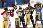Italian Michaela Ponza finishes one of all her perfect shootings to win the fourth place of the women's World Cup biathlon 10 kms pursuit in...