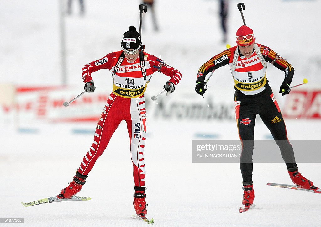 Italian Michaela Ponza takes the fourth place ahead of German Kati Wilhelm in the women's World Cup biathlon 10 kms pursuit in Oestersund Sweden 18...
