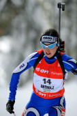 Italian Michela Ponza skiis during the Women World Cup Biathlon's 125 km mass start 20 January 2008 in Anterselva German Andrea Henkel won the race...