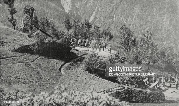 Italian midcaliber battery hidden by trees in position for the taking of Gorizia Italy World War I from L'Illustrazione Italiana Year XLII No 41...