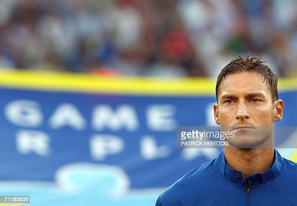 Italian midfielder Francesco Totti is pictured prior the football World Cup 2006 group E football match Italy vs Ghana 12 June 2006 at Hannover...
