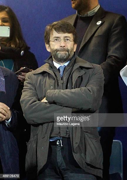 Italian Minister of Culture Dario Franceschini watches the international friendly match between Italy U21 and Denmark U21 at XXI Settembre stadium on...