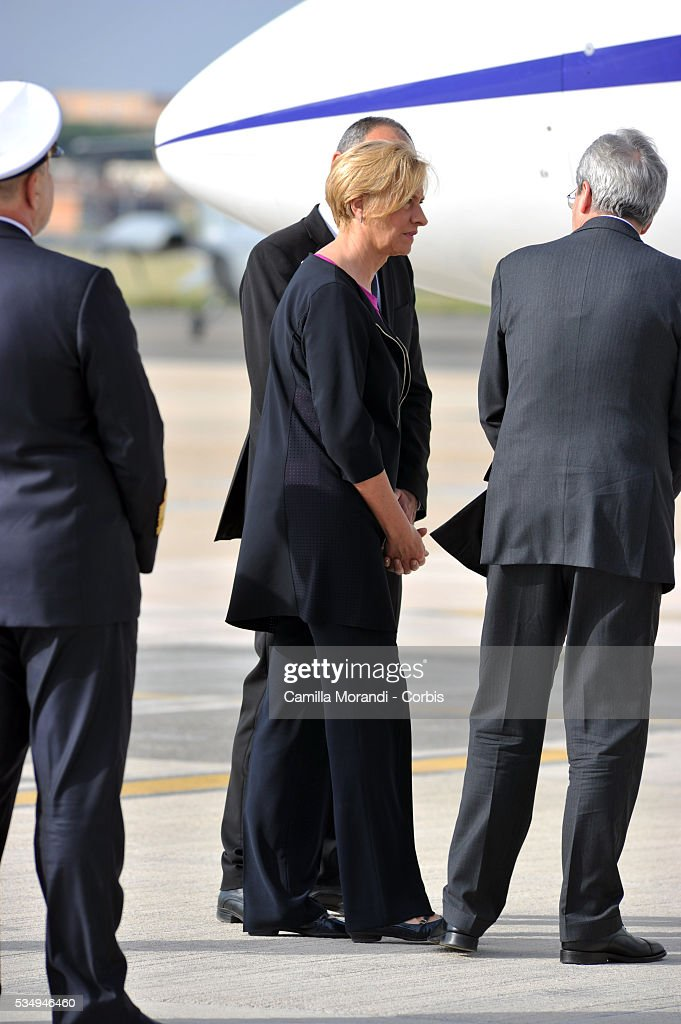 Italian Minister of Defense Roberta Pinotti waits for Italian Marine Salvatore Girone to arrive at Ciampino Airport on May 28 2016 in Rome, Italy. Salvatore Girone, accused of killing two fishermen in India returned back to Italy after four years, pending a ruling on where he should be tried.