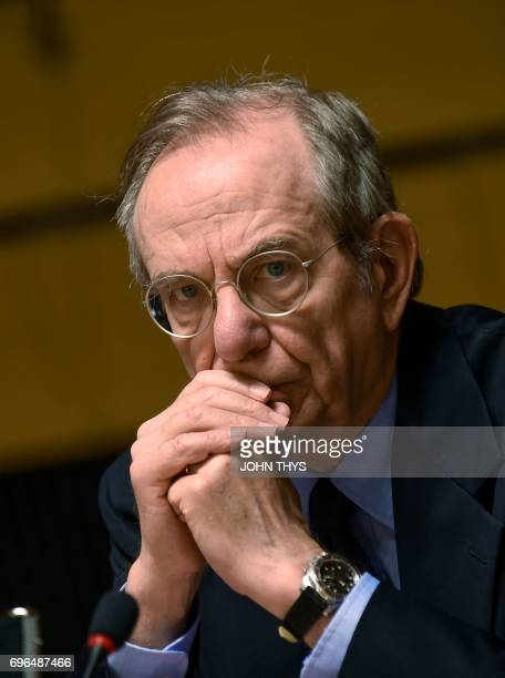 Italian Minister of Economy and Finance Pier Carlo Padoan looks on during an Ecofin meeting in Luxembourg on June 16 2017 / AFP PHOTO / JOHN THYS