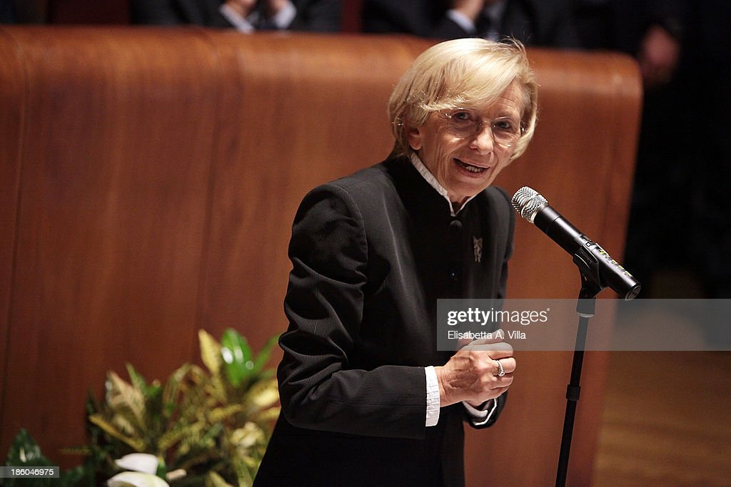 Italian Minister of Foreign Affairs <a gi-track='captionPersonalityLinkClicked' href=/galleries/search?phrase=Emma+Bonino&family=editorial&specificpeople=539913 ng-click='$event.stopPropagation()'>Emma Bonino</a> attends the Nobel Peace Laureate Aung San Suu Kyi honorary citizenship of Rome cerimony in Campidoglio on October 27, 2013 in Rome, Italy. Aung San Suu Kyi was awarded the honorary citizenship in 1994 but had been prevented from receiving it after being kept under house arrest until November 13, 2010 , by Burma's military junta.