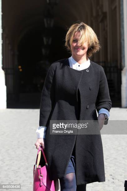 Italian Minister of Healt Beatrice Lorenzin arrives at the International Women's Day Celebrations at Palazzo del Quirinale on March 8 2017 in Rome...