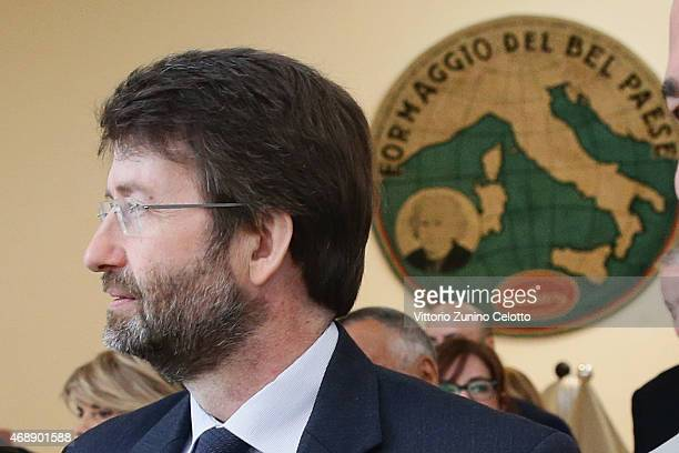 Italian Minister of Heritage Cultural Activity Dario Franceschini attends Arts Foods Pavillion Opening Ceremony at Triennale di Milano on April 8...