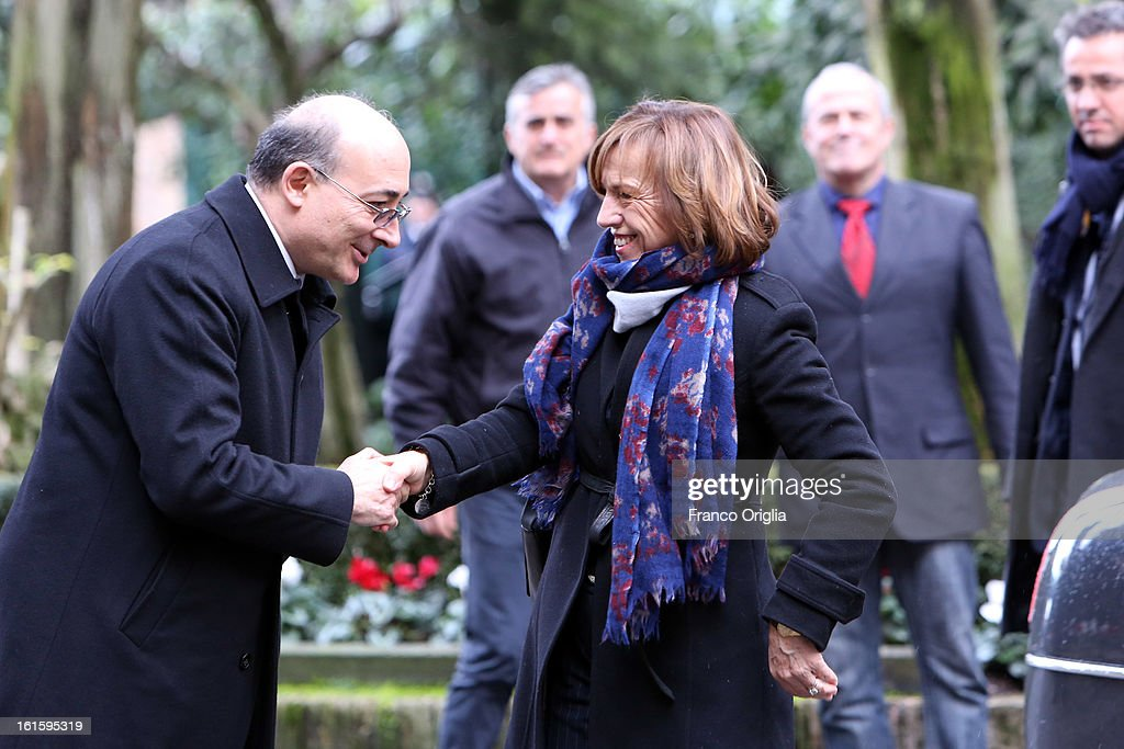Italian Minister of Labor and Welfare <a gi-track='captionPersonalityLinkClicked' href=/galleries/search?phrase=Elsa+Fornero&family=editorial&specificpeople=8642721 ng-click='$event.stopPropagation()'>Elsa Fornero</a> (C) arrives at Palazzo Borromeo for the celebration of the 84th anniversary of The Lateran Pacts on February 12, 2013 in Rome, Italy. Lateran Pacts of 1929 or Lateran Accords, is an agreement by which the Papacy regonized the state of Italy with Rome as the capitol and Italy reconized the Vatican as a soveriern state.