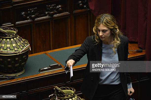 Italian Minister of Public Administration and Simplification Marianna Madia casts her ballot on January 31 at the Italian Parliament in Rome during...