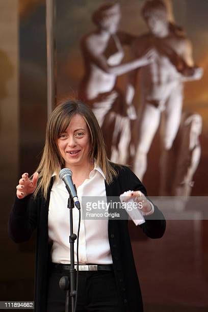 Italian Minister of the Youth Giorgia Meloni attends 'Campus Mentis' Awards at Palazzo Chigi on April 8 2011 in Rome Italy The 74yearold Italian...