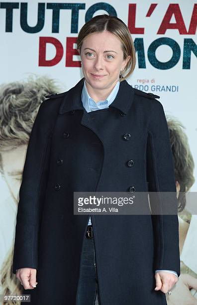 Italian Minister of Youth Giorgia Meloni attends 'Tutto L'Amore Del Mondo' photocall at Adriano Cinema on March 15 2010 in Rome Italy