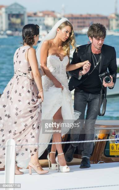 Italian model Alice Campello arrives for her wedding to Spanish professional footballer Alvaro Morata at Redentore Church on June 17 2017 in Venice...