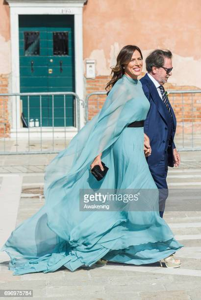 Italian model Alice Campello's mother arrives to her daughters wedding to Spanish professional footballer Alvaro Morata at the Redentore Church on...