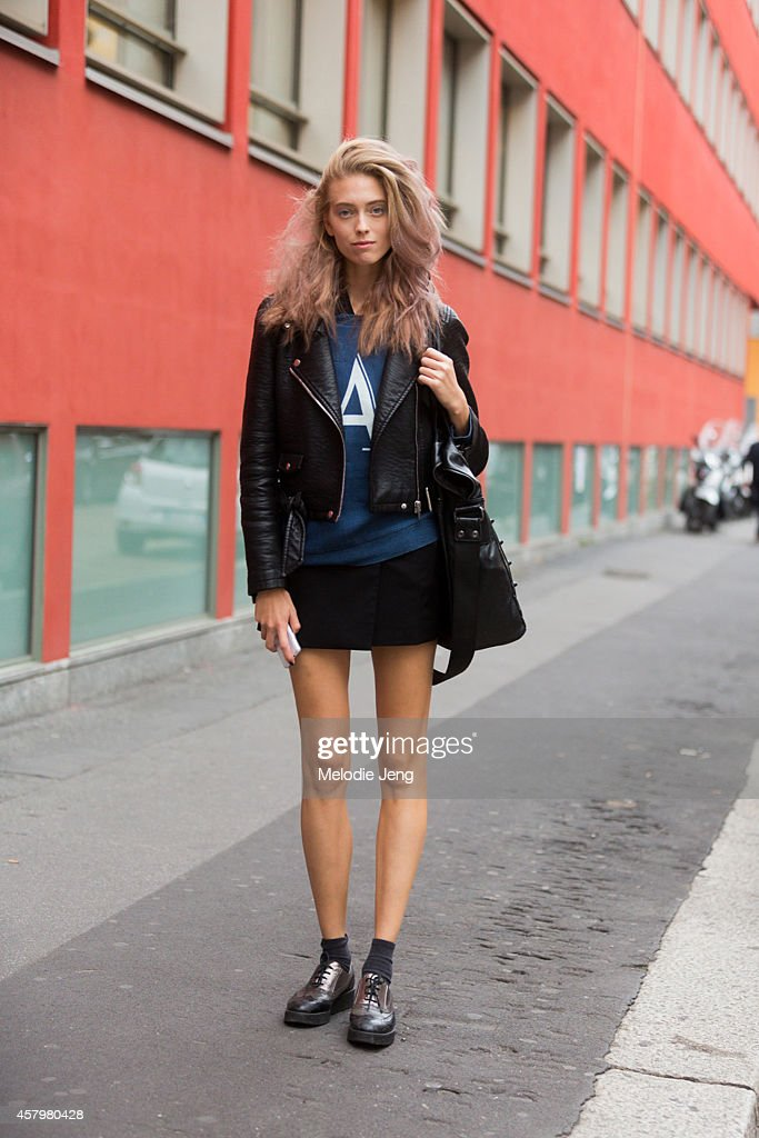Italian model Anna Zanovello exits the Emporio Armani show in an Armani top on Day 2 of Milan Fashion Week Spring/Summer 2015 on September 18 2014 in...