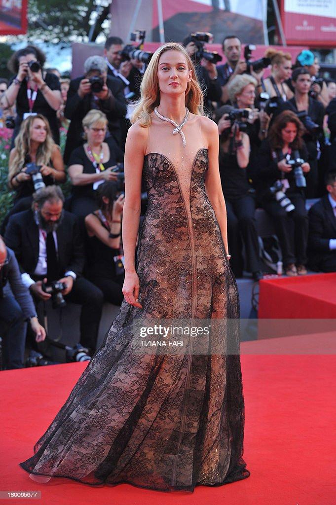 Italian model Eva Riccobono arrives for the award ceremony of the 70th Venice Film Festival on September 7, 2013 at Venice Lido. AFP PHOTO / TIZIANA FABI