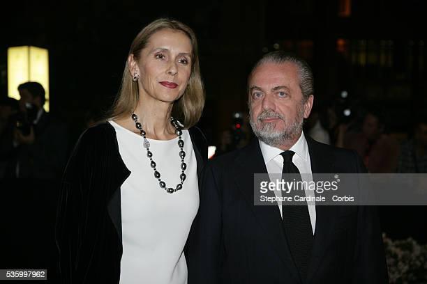 Italian movie producer Aurelio De Laurentiis and date arrive at Rome's Opera theatre for Riccardo Muti's concert and Lifetime Achievement award...
