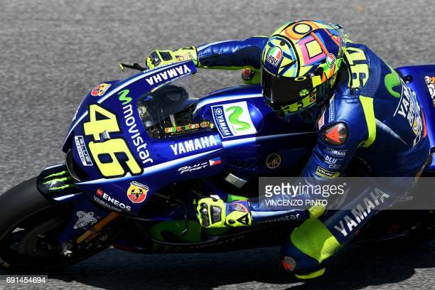 Italian Movistar Yamaha rider Valentino Rossi competes during the Moto GP free practice session of the Italian Grand Prix at the Mugello track on...