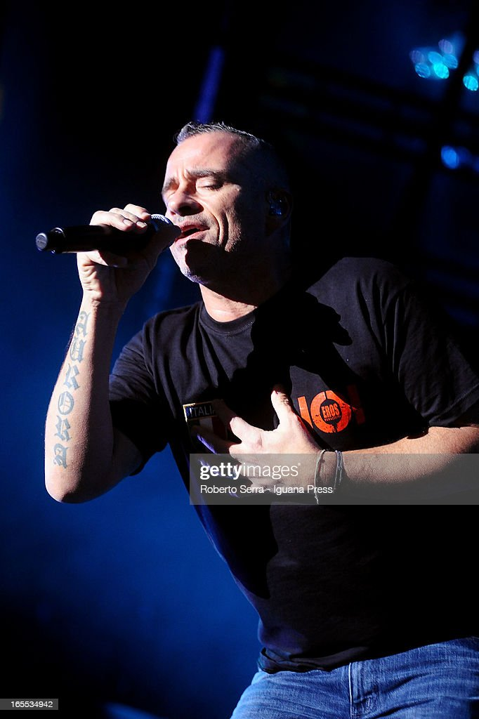 Italian musician and author Eros Ramazzotti perform his concert of 'Noi World Tour' at Unipol Arena on April 3 2013 in Bologna Italy