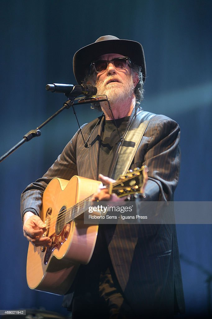 Italian musician and author Francesco De Gregori performs at Unipol Arena on March 28 2015 in Bologna Italy
