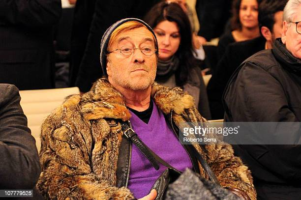 Italian musician and author Lucio Dalla attends the presentation to the press of the new corporate structure of the Bologna FC 1909 on December 23...