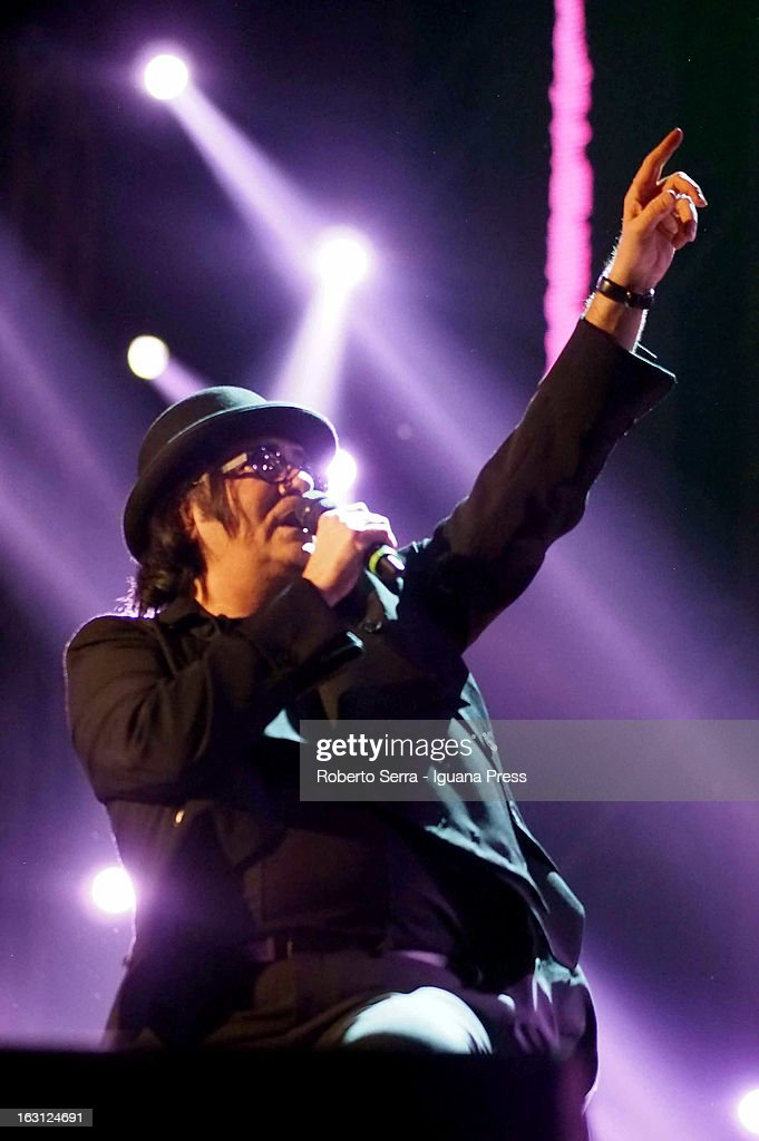 Italian musician and author Renato Zero attends the Lucio Dalla Tribute concert at Piazza Maggiore on March 4, 2013 in Bologna, Italy.