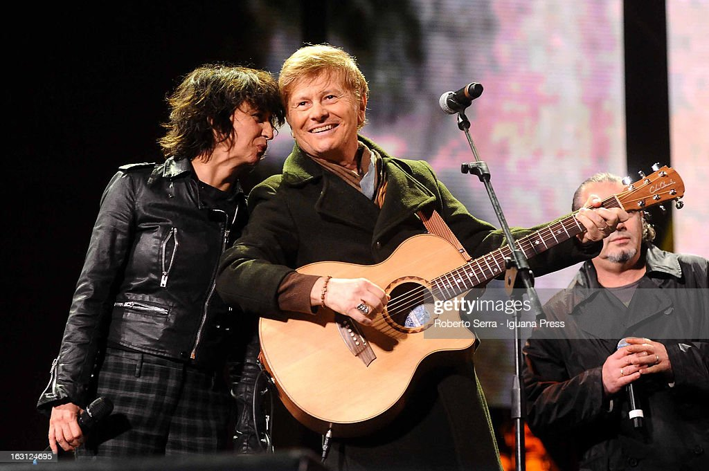 Italian musician and author Ron and actress Angela Baraldi attends the Lucio Dalla Tribute concert at Piazza Maggiore on March 4, 2013 in Bologna, Italy.
