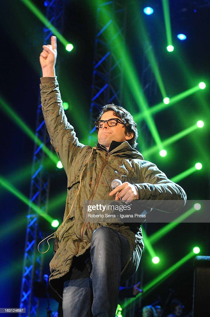 Italian musician and author Samuele Bersani attends the Lucio Dalla Tribute concert at Piazza Maggiore on March 4, 2013 in Bologna, Italy.