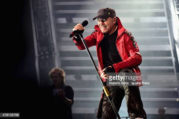 Italian musician and author Vasco Rossi performs at Renato Dall'Ara Stadium on June 22 2015 in Bologna Italy