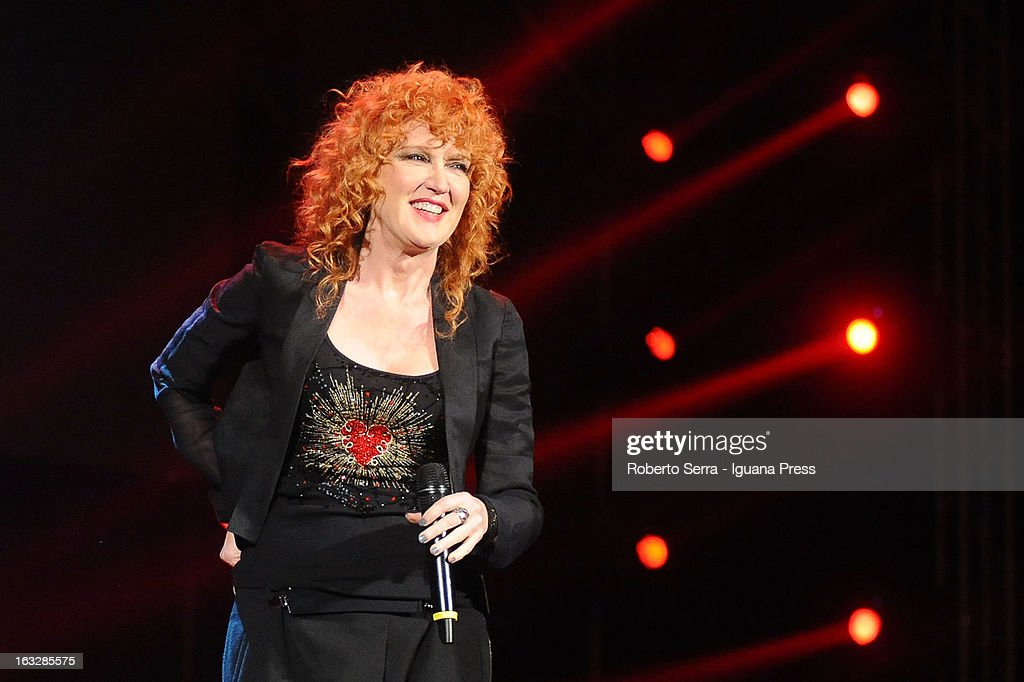 Italian musician and authoress vocalist Fiorella Mannoia performs the Lucio Dalla Tribute at Piazza Maggiore on March 4, 2013 in Bologna, Italy.