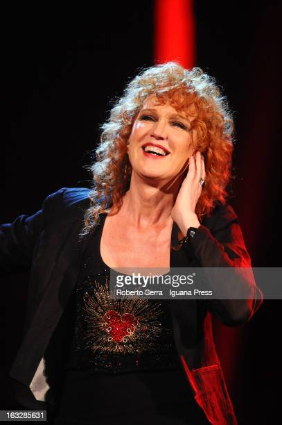 Italian musician and authoress vocalist Fiorella Mannoia performs the Lucio Dalla Tribute at Piazza Maggiore on March 4 2013 in Bologna Italy