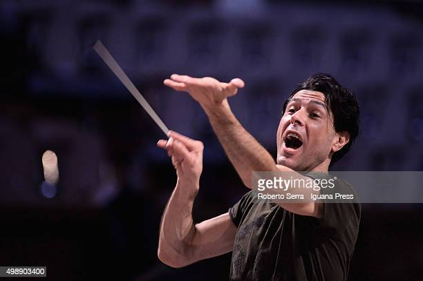 Italian musician and composer Ezio Bosso conducts the Orchestra of the Conservatorio of Bologna during the rehearsal before the concert for the...