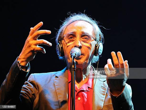 Italian musician and composer Franco Battiato performs in the Piazza del Popolo on July 31 2011 in Ascoli Piceno Italy