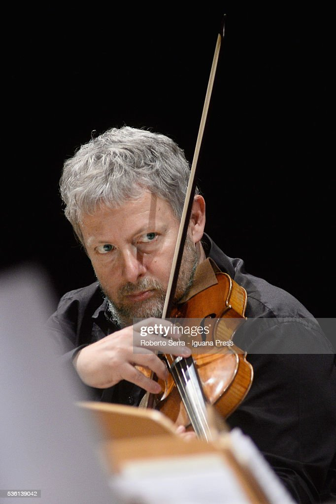 Italian musician Fabio Biondi performs and conducing Europa Galante chamber music ensamble for Bologna Festival at Auditorium Manzoni on May 31, 2016 in Bologna, Italy.