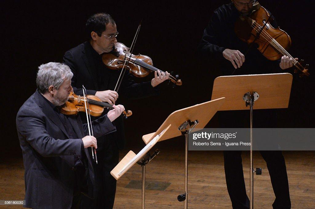 Italian musician Fabio Biondi (L) performs and conducing Europa Galante chamber music ensamble for Bologna Festival at Auditorium Manzoni on May 31, 2016 in Bologna, Italy.