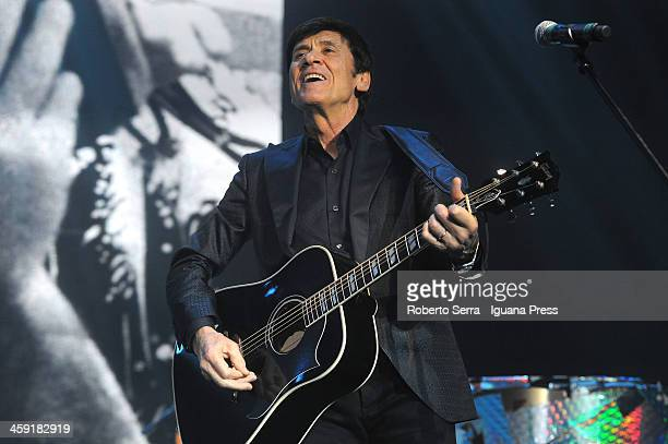 Italian musician Gianni Morandi performs as a special guest during the first concert of Luca Carboni 's 'Fisico Politico' tour at PalaDozza on...
