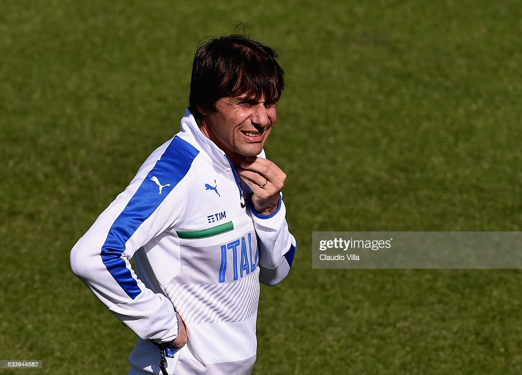 Italian national team head coach <a gi-track='captionPersonalityLinkClicked' href=/galleries/search?phrase=Antonio+Conte&family=editorial&specificpeople=2379002 ng-click='$event.stopPropagation()'>Antonio Conte</a> looks on during the Italy training session at the club's training ground at Coverciano on May 24, 2016 in Florence, Italy.