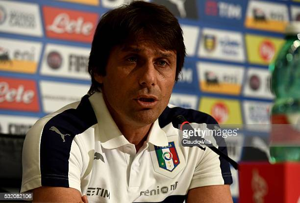 Italian national team head coach Antonio Conte speaks to the media during a press conference at the club's training ground at Coverciano on May 18...