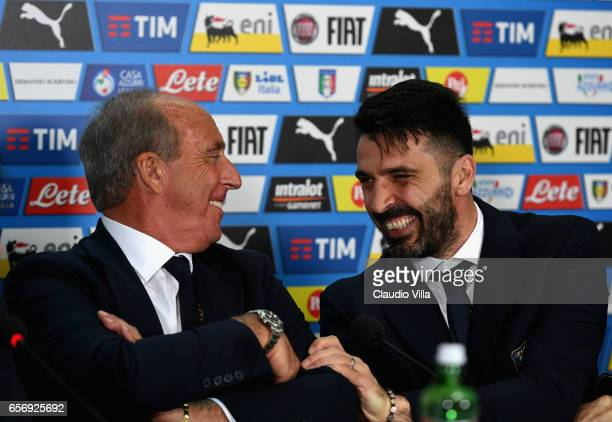 Italian national team head coach Giampiero Ventura and Gianluigi Buffon speak with the media during the press conference at at Stadio Renzo Barbera...