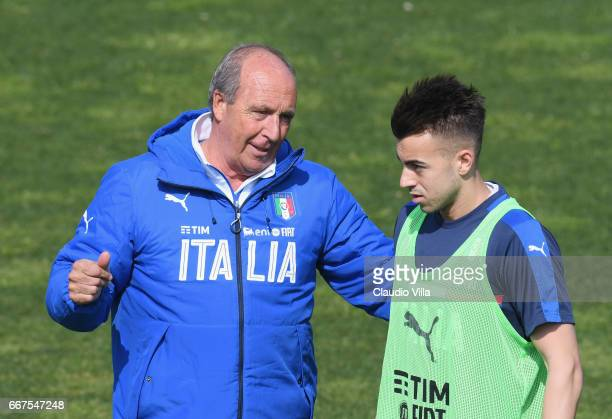 Italian national team head coach Giampiero Ventura and Stephan El Shaarawy chat during the training session at the club's training ground at...