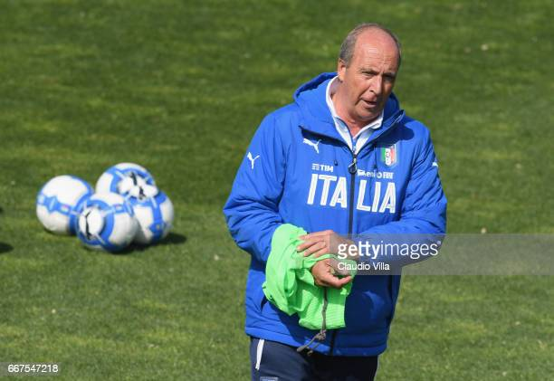 Italian national team head coach Giampiero Ventura reacts during the training session at the club's training ground at Coverciano on April 12 2017 in...