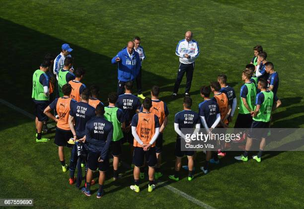 Italian national team head coach Giampiero Ventura speaks with the player during the training session at the club's training ground at Coverciano on...